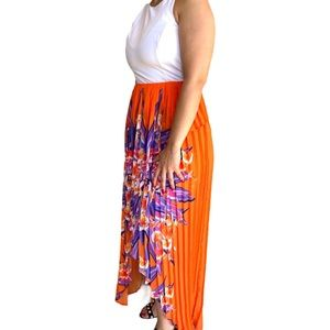 Bebe airy pleated high low dress size S